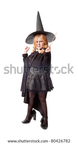 The girl in a suit of a witch