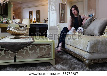 The girl in an interior