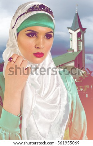 The girl in hijab  a head covering worn in public by some Muslim