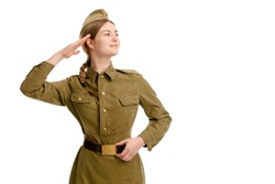 the girl in military uniform saluting on may 1, may 9 on an isolated white background