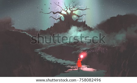 the girl in red hood with magic torch walking on mountain path leading into the fantasy tree, digital art style, illustration painting