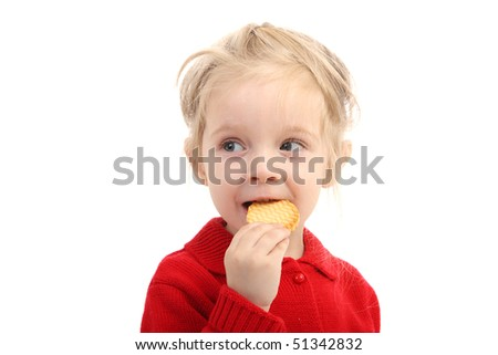 The girl in red sweater isolated on a white background