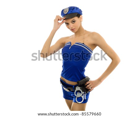 The girl in the form of the policeman. Isolated on white