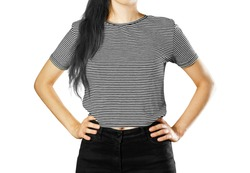 The girl in the striped t-shirt. Horizontal, black and white stripes on the t-shirt. Close up. Isolated on white background.