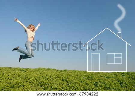 The girl in white jumps in the field near the house of dream