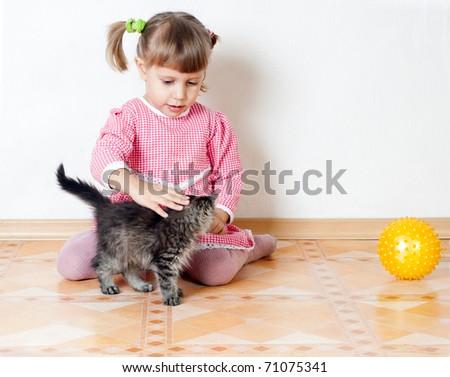 The girl irons a kitten, an interior