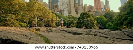 Stock Photo The girl is standing on the rock in Central Park, New York City, USA, panorama