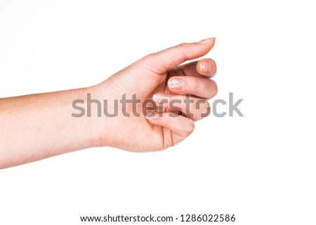 The girl's hand on a white background. Hand gestures. Right and left hand.