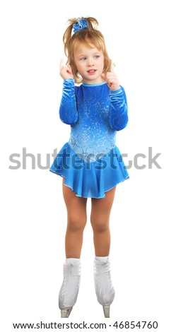 The girl skates on a white background. Very happy child in blue dress isolated on the white.