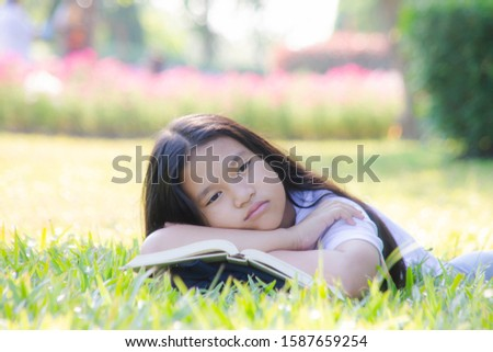 The girl sleeps with absent-mindedness. Stock photo ©