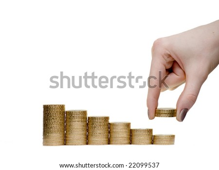 The girl takes away money from a pyramid. Isolate on white - stock photo