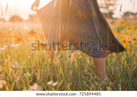the girl walks across the field. sunset time , a long skirt. whirl with camera in hand, joy - Shutterstock ID 725894485