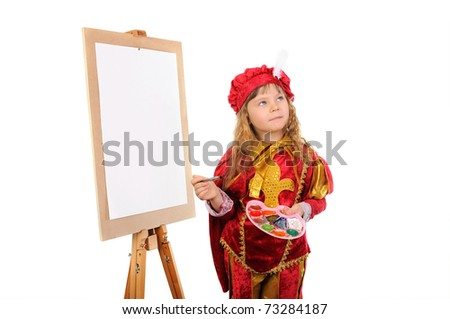 The girl with a brush and paints near an easel. Isolated on white