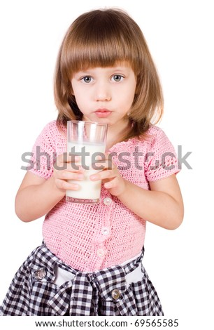 The girl with a milk glass, a white background