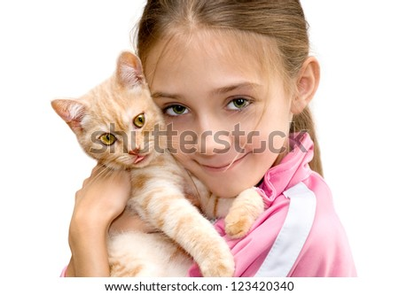The girl with a red kitten of breed Scottish-straight are photographed on the white background