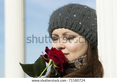 The girl with a rose