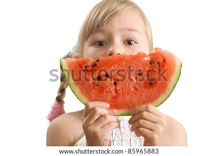 The girl with a water-melon