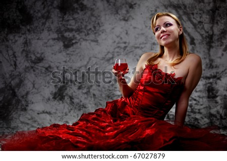 The girl with a wine glass