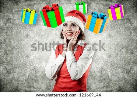The girl with gifts flying over a head