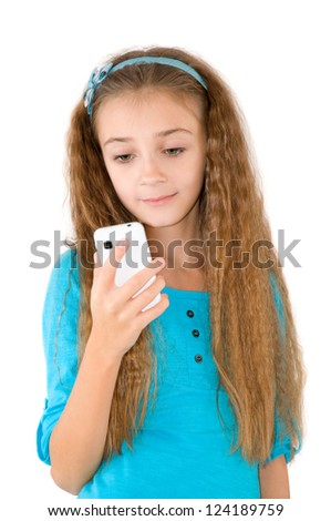 The girl with mobile phone in the blue blouse