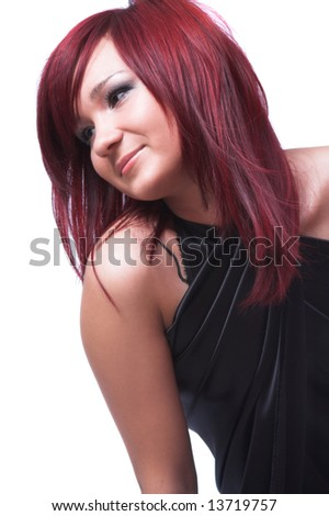 The girl with red hair on a white background