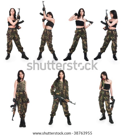 The girl with rifle AK on a white background