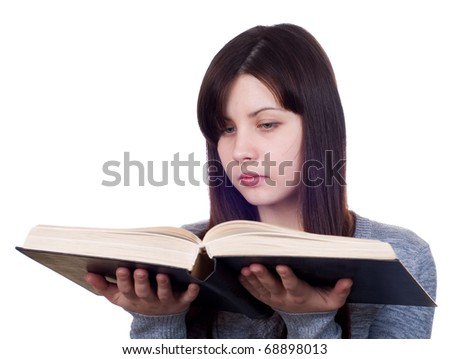 The girl with the book on a white background