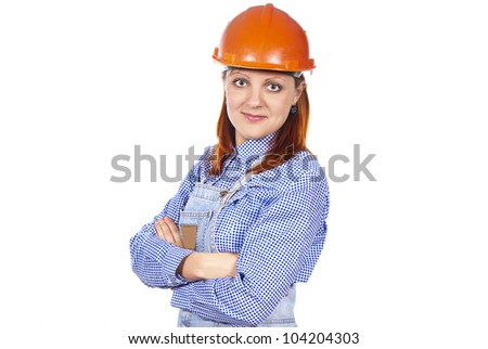 the girl with the builder helmet isolated