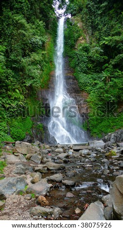 the gitgit waterfall on singaraja, bali, indonesia