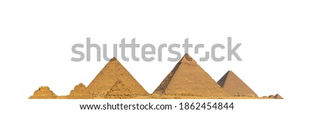 The Giza pyramid complex, also called the Giza Necropolis, isolated on white background. Greater Cairo, Egypt. Stock photo ©
