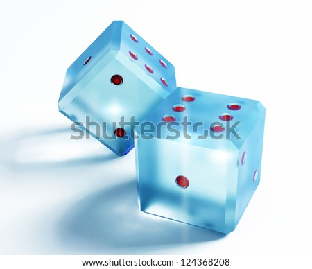 the glass dice over the white background