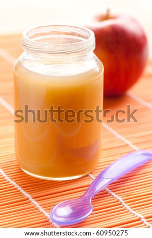 the glass jar of baby food