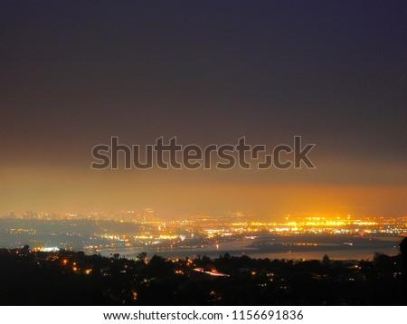 The glittering city lights of San Diego, California.