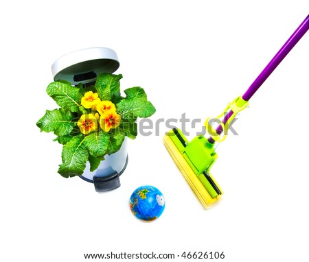 The globe, bunch of flowers in a garbage bucket, mop, symbolizing environmental contamination