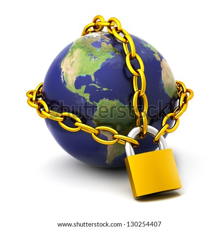 The globe chained on the lock.Elements of this image furnished by NASA