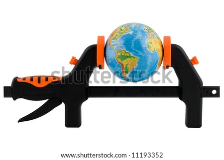 The globe clamped in a manual clamp isolated on a white background. Clipping path included.