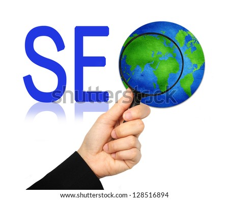 The Globe With Magnify Glass and SEO Word Isolated on White Background