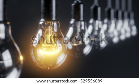 The glowing electric bulb lamp in a row of lamps. The unique concept. 3d illustration