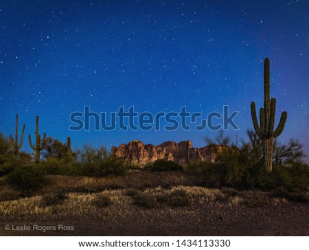 The glowing iconic Superstition Mountains are pictured against a glowing night sky in the Arizona desert. Cactus reach to the clear night sky, shining with stars. Beautiful image of southwest