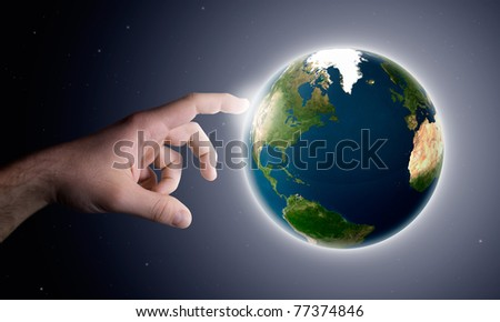 the God hand creates the planet earth