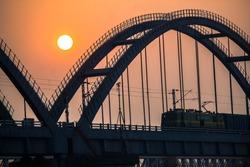 The Godavari Arch Bridge is a bowstring-girder bridge that spans the Godavari River in Rajahmundry, India. It is the latest of the three bridges that span the Godavari river at Rajahmundry.