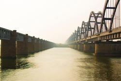 The Godavari Bridge is truss bridge spanning Godavari River in Rajahmundry, India. It is India's third longest road-cum-rail bridge crossing a water body.