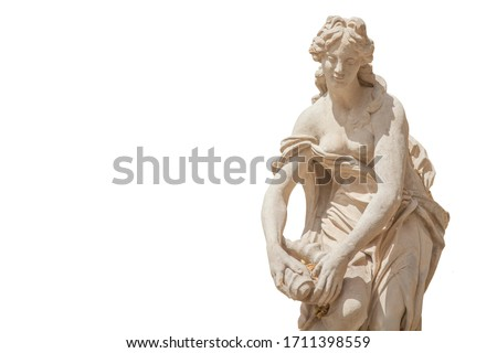 The goddess of love and beauty in Greek mythology, Aphrodite (Venus in Roman mythology) Fragment of ancient stone statue isolated on white background.  Foto d'archivio ©