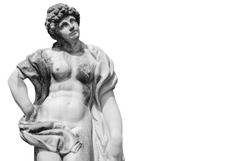 The goddess of love in Greek mythology, Aphrodite (Venus in Roman mythology). Ancient statue isolated on white background.