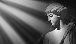 The goddess of love in Greek mythology, Aphrodite (Venus in Roman mythology). Black and white image.