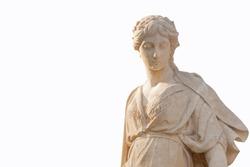 The goddess of love in Greek mythology, Aphrodite (Venus in Roman mythology) Fragment of antique statue isolated on white background. Free space for designer.