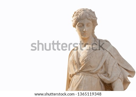 The goddess of love in Greek mythology, Aphrodite (Venus in Roman mythology) Fragment of antique statue isolated on white background. Free space for designer.