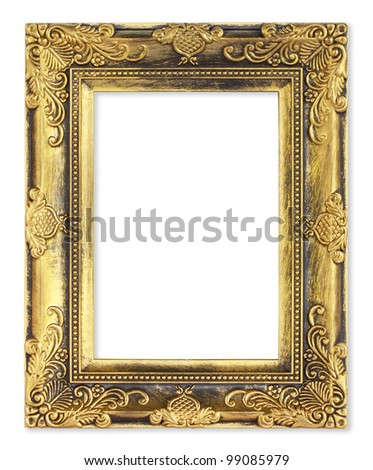 The gold frame on the white background