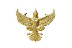 The gold Garuda isolated on white background. Garuda is the king of birds, half-man and half-bird, the vehicle of Vishnu, a Hindu God. Himmapan wildlife.