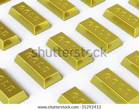 The gold ingot lies on a white surface